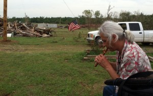 Timothy L Trujillo playing flute in Little Axe, Oklahoma Tornado Zone